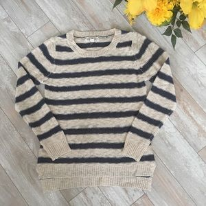 new • Cream and Navy Striped Sweater
